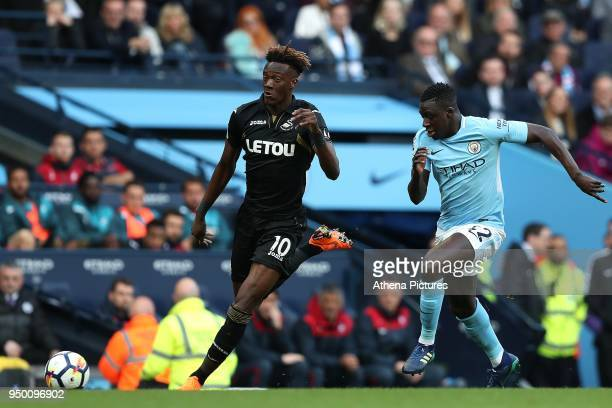Tammy Abraham of Swansea City and Benjamin Mendy of Manchester City during the Premier League match between Manchester City and Swansea City at the...