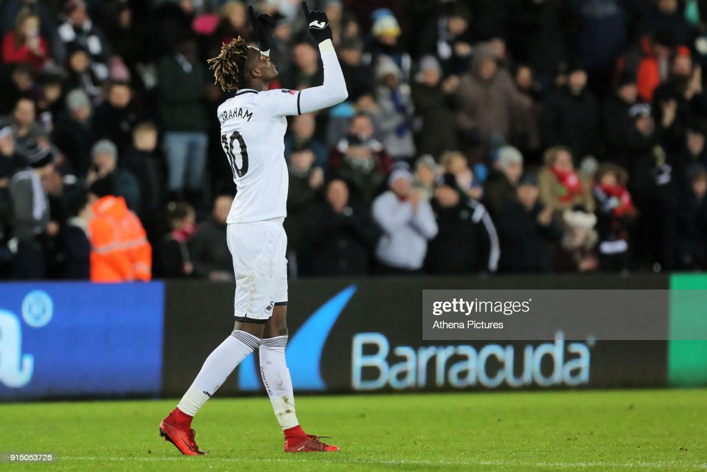 Tammy Abraham of Swansea City celebrates his goal during The Emirates FA Cup match between Swansea City and Notts County at The Liberty Stadium on February 06, 2018 in Swansea, Wales.
