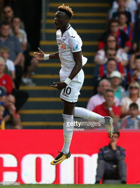 Tammy Abraham of Swansea City celebrates scoring his sides first goal during the Premier League match between Crystal Palace and Swansea City at...