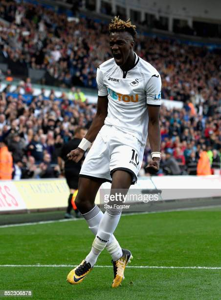 Tammy Abraham of Swansea City celebrates scoring his side's first goal during the Premier League match between Swansea City and Watford at Liberty...