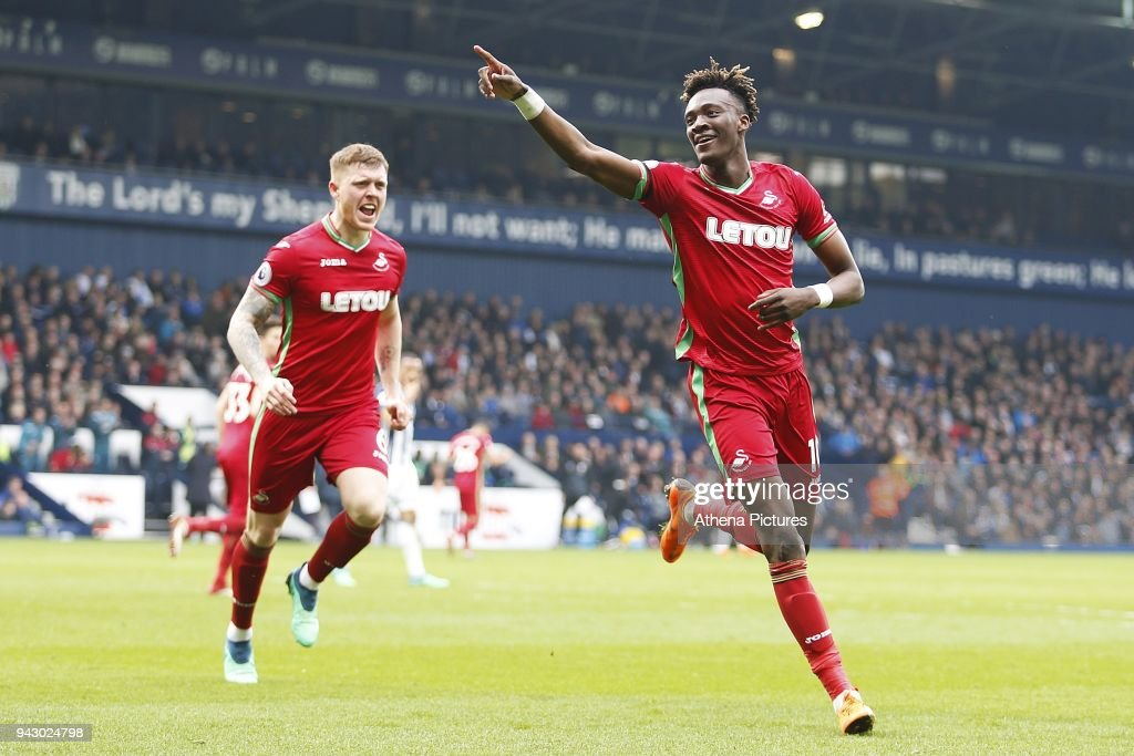 Tammy Abraham of Swansea City celebrates scoring his side's first goal of the match during the Premier League match between Swansea City and West Bromwich Albion at the Hawthorns Stadium on April 07, 2018 in West Bromwich Albion, England.