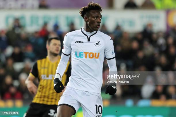 Tammy Abraham of Swansea City in action during The Emirates FA Cup Fifth Round Replay match between Swansea City and Sheffield Wednesday at the...