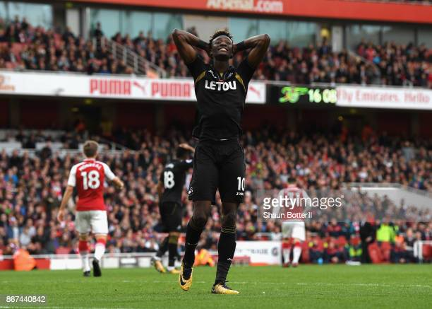 Tammy Abraham of Swansea City reacts during the Premier League match between Arsenal and Swansea City at Emirates Stadium on October 28 2017 in...