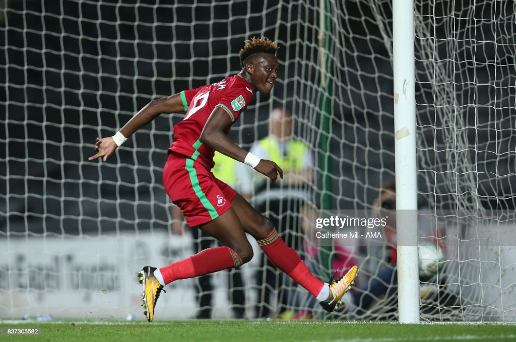 Tammy Abraham of Swansea City runs off to celebrate after he scores a goal to make it 1-3 during the Carabao Cup Second Round match between Milton Keynes Dons and Swansea City at StadiumMK on August 22, 2017 in Milton Keynes, England.