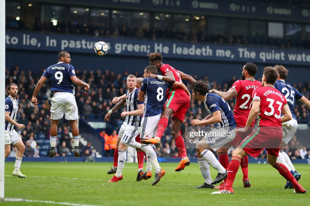 Tammy Abraham of Swansea City scores his side's first goal during the Premier League match between West Bromwich Albion and Swansea City at The Hawthorns on April 7, 2018 in West Bromwich, England.