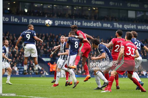 Tammy Abraham of Swansea City scores his side's first goal during the Premier League match between West Bromwich Albion and Swansea City at The...