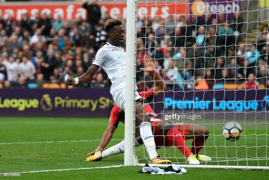 Tammy Abraham of Swansea City scores his sides second goal during the Premier League match between Swansea City and Huddersfield Town at Liberty Stadium on October 14, 2017 in Swansea, Wales.