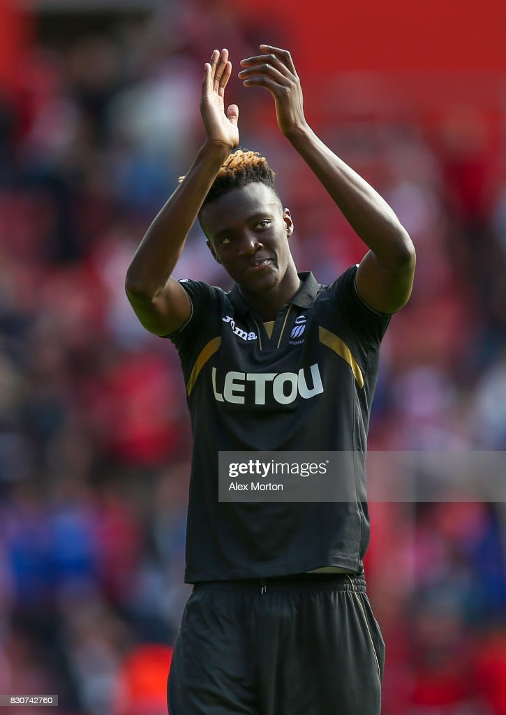 Tammy Abraham of Swansea City shows appreciation to the fans after the Premier League match between Southampton and Swansea City at St Mary's Stadium on August 12, 2017 in Southampton, England.
