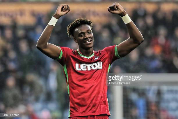 Tammy Abraham of Swansea City thanks away supporters during the Premier League match between Huddersfield Town and Swansea City and at the John...