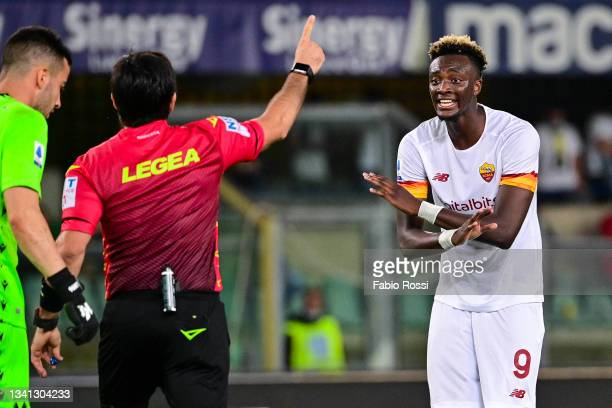 Tammy Abraham reacts during the Serie A match between Hellas and AS Roma at Stadio Marcantonio Bentegodi on September 19, 2021 in Verona, Italy.