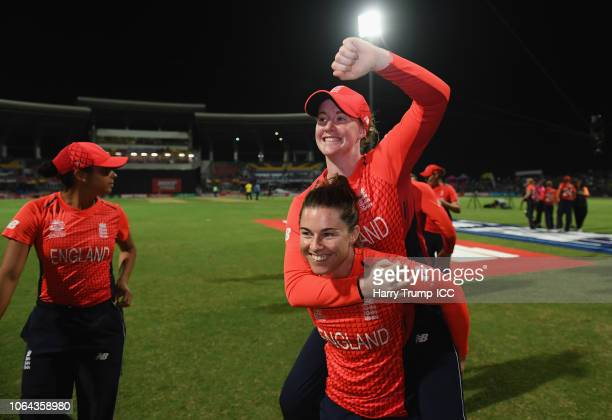 Tammy Beaumont and Kirstie Gordon of England celebrate during the ICC Women's World T20 2018 SemiFinal match between England and India at Sir Viv...