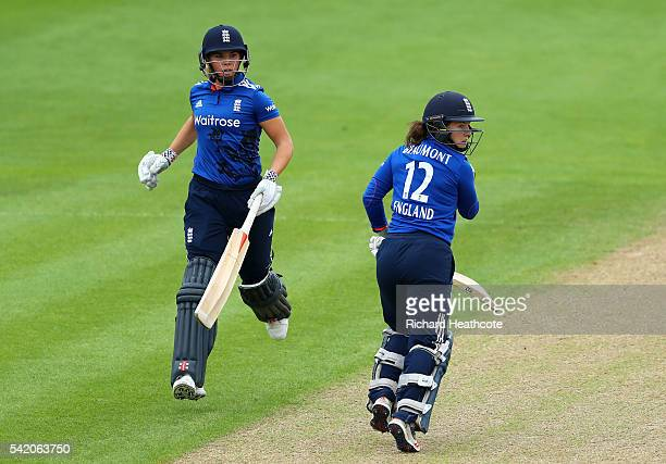 Tammy Beaumont and Lauren Winfield in action of England during the second Women's Royal London ODI match between England and Pakistan at New Road on...