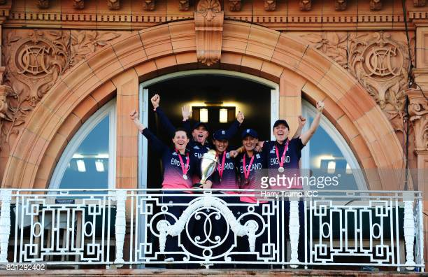 Tammy Beaumont Lauren Winfield Fran WIlson Laura Marsh and Heather Knight of England celebrate during the ICC Women's World Cup 2017 Final between...