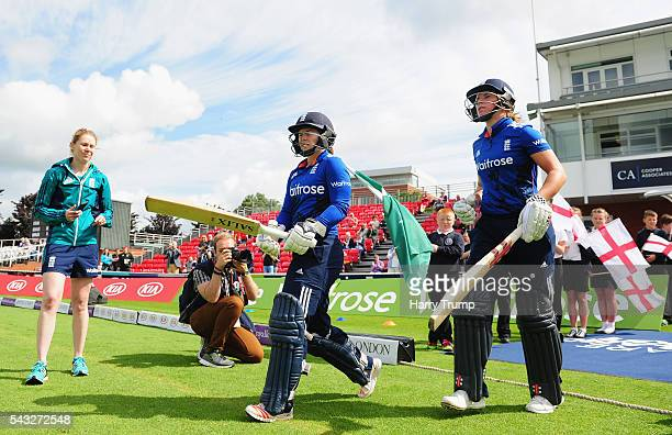 Tammy Beaumont of England and Lauren Winfield of England walk out to bat during the 3rd Royal Royal London ODI between England Women and Pakistan...