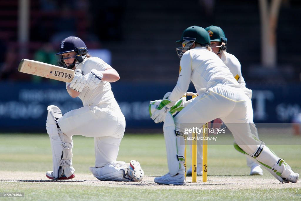 Tammy Beaumont of England bats during day four of the Women's Test match between Australia and England at North Sydney Oval on November 12, 2017 in Sydney, Australia.