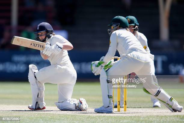 Tammy Beaumont of England bats during day four of the Women's Test match between Australia and England at North Sydney Oval on November 12, 2017 in...