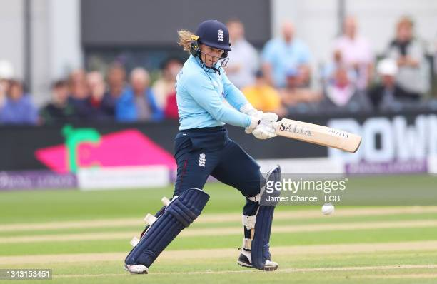 Tammy Beaumont of England bats during the 5th One Day International match between England and New Zealand at The Spitfire Ground on September 26,...
