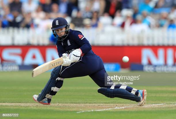 Tammy Beaumont of England bats during the England v India group stage match at the ICC Women's World Cup 2017 at The 3aaa County Ground on June 24...