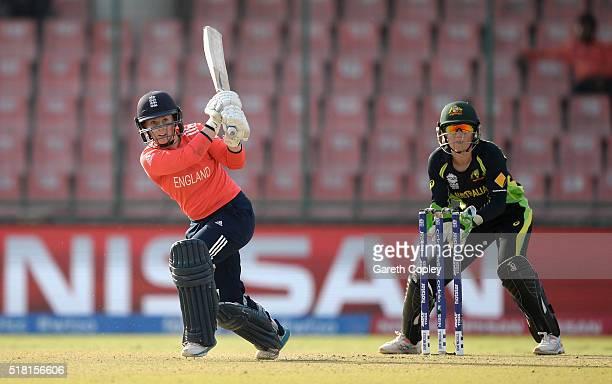Tammy Beaumont of England bats during the Women's ICC World Twenty20 India 2016 Semi Final between England and Australia at Feroz Shah Kotla Ground...