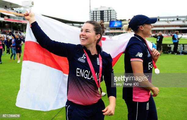 Tammy Beaumont of England celebrates during the ICC Women's World Cup 2017 Final between England and India at Lord's Cricket Ground on July 23 2017...