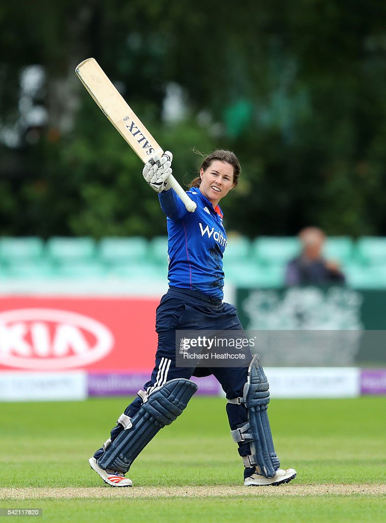 Tammy Beaumont of England celebrates reaching her century during the second Women's Royal London ODI match between England and Pakistan at New Road on June 22, 2016 in Worcester, England.
