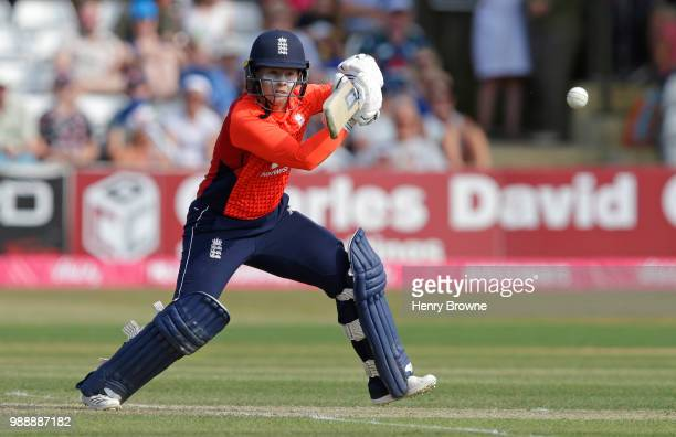 Tammy Beaumont of England during the International T20 TriSeries Final between England and New Zealand at Cloudfm County Ground on July 1 2018 in...