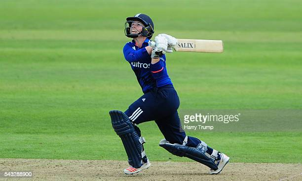 Tammy Beaumont of England hits out during the 3rd Royal Royal London ODI between England Women and Pakistan Women at The Cooper Associates County...