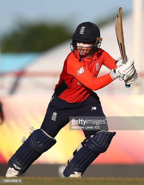 Tammy Beaumont of England hits the ball towards the boundary during the ICC Women's World T20 2018 match between West Indies and England at Darren...