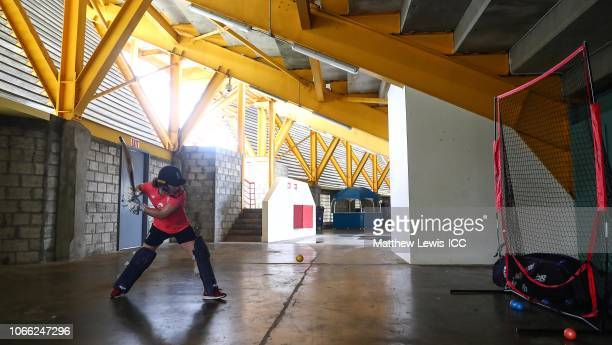Tammy Beaumont of England in action during a nets session during the ICC Women's World T20 2018 tournament at the Daren Sammy Ground on November 11...