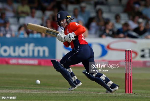 Tammy Beaumont of England in action during the International T20 TriSeries Final between England and New Zealand at Cloudfm County Ground on July 1...
