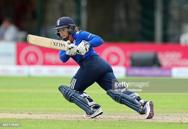 Tammy Beaumont of England in action during the second Women's Royal London ODI match between England and Pakistan at New Road on June 22 2016 in...