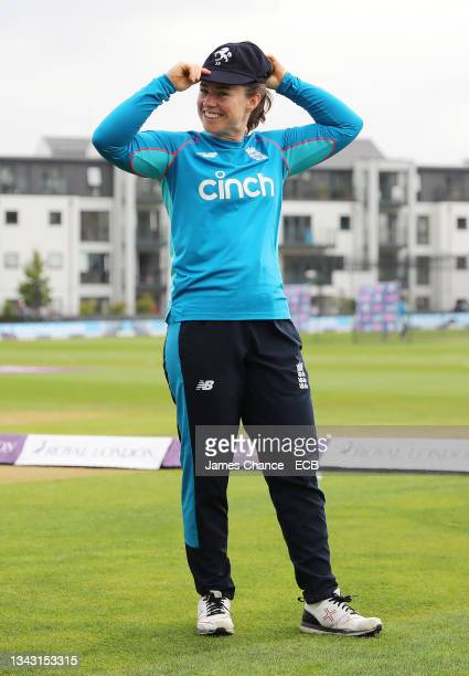 Tammy Beaumont of England is awarded her Kent cap prior to the 5th One Day International match between England and New Zealand at The Spitfire Ground...
