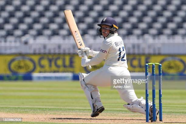 Tammy Beaumont of England plays a paddle-shot on Day One of the LV= Insurance Test Match between England Women and India Women at Bristol County...