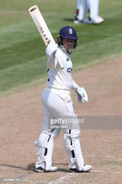 Tammy Beaumont of England reaches 50 on Day One of the LV= Insurance Test Match between England Women and India Women at Bristol County Ground on...