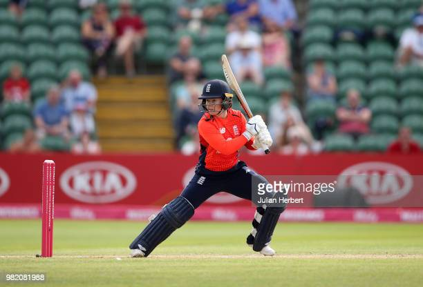 Tammy Beaumont of England scores runs during the International T20 TriSeries match between England Women and New Zealand Women at The Cooper...