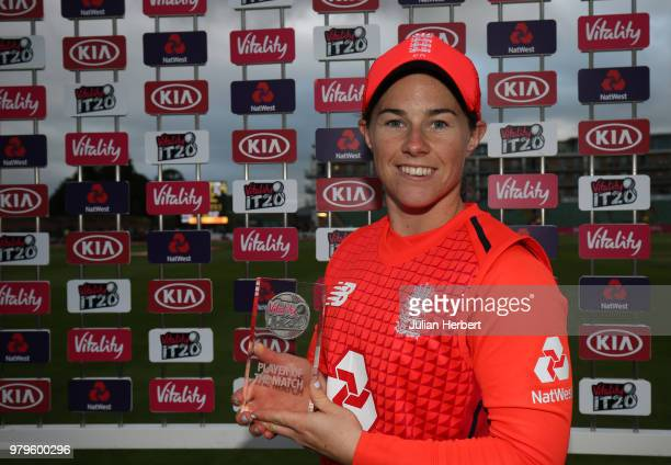 Tammy Beaumont of England with The Player of The Match award after the International T20 TriSeries match between England Women and South Africa Women...
