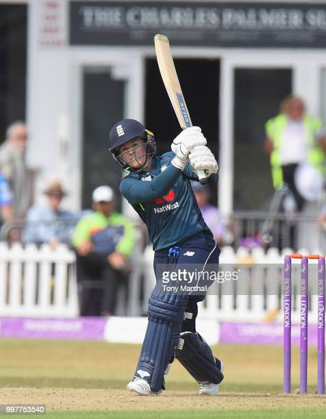 Tammy Beaumont of England Women bats during the 3rd ODI ICC Women's Championship between England Women and New Zealand Women at Grace Road on July 13...