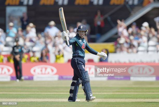 Tammy Beaumont of England Women celebrates reaching her 50 during the 2nd ODI ICC Women's Championship between England Women and New Zealand Women at...