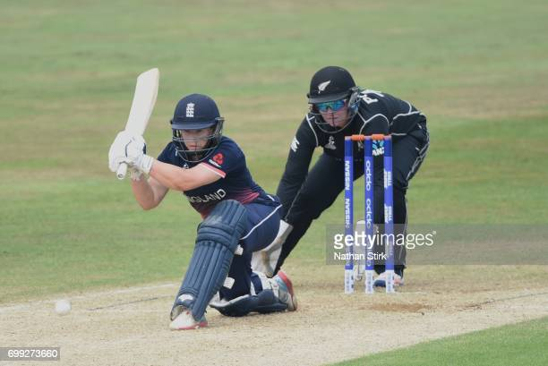 Tammy Beaumont of England Women's plays a sweep shot during the ICC women's world cup warm up match between England Women's and New Zealand on June...