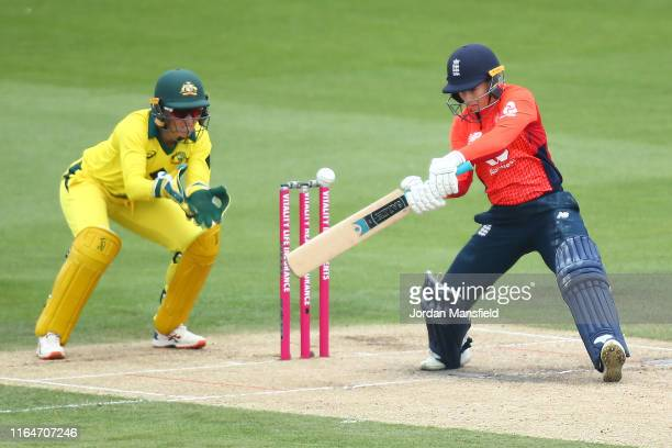 Tammy Beaumont of Surrey bats during the 2nd Vitality Women's IT20 at The 1st Central County Ground on July 28, 2019 in Hove, England.
