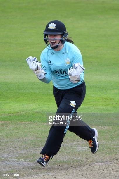 Tammy Beaumont of Surrey Stars celebrates during the Kia Super League 2017 match between Lancashire Thunder and Surrey Stars at Old Trafford on...
