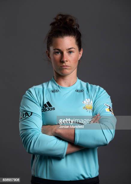 Tammy Beaumont of Surrey Stars poses for a portrait during the Surrey Stars Photo Shoot at the Surrey Cricket Centre on August 7 2017 in Guildford...