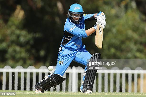 Tammy Beaumont of the Strikers bats during the Women's Big Bash League match between the Adelaide Strikers and the Melbourne Stars at Lilac Hill on...