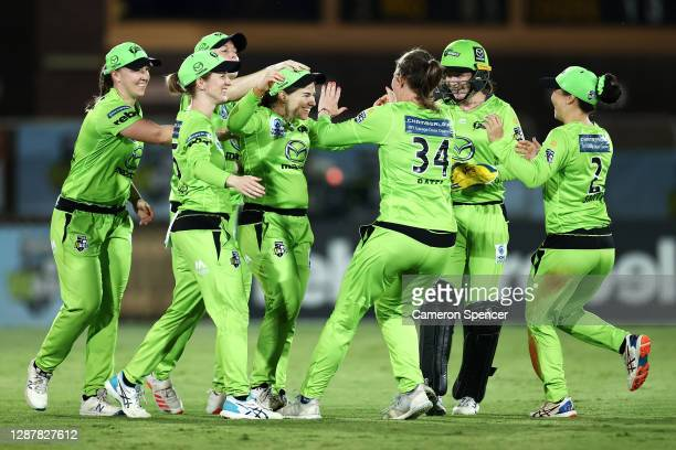 Tammy Beaumont of the Thunder celebrates dismissing Nadine de Klerk of the Heat during the Women's Big Bash League WBBL Semi Final match between the...