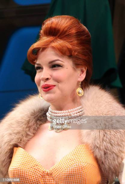 Tammy Blanchard takes her curtain call on Opening Night of How To Succeed In Business Without Really Trying on Broadway at the Al Hirschfeld Theatre...
