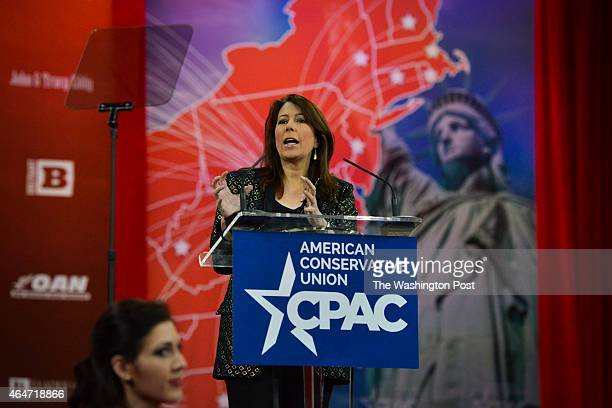 Tammy Bruce who described herself as conservative and gay addresses the crowd during CPAC2105 at the Nation Harbor Gaylord on Thursday February 26 in...