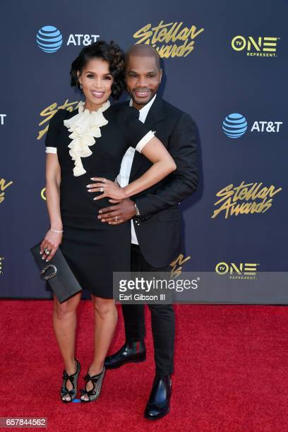 Tammy Collins and Kirk Franklin arrive at the 32nd annual Stellar Gospel Music Awards at the Orleans Arena on March 25 2017 in Las Vegas Nevada