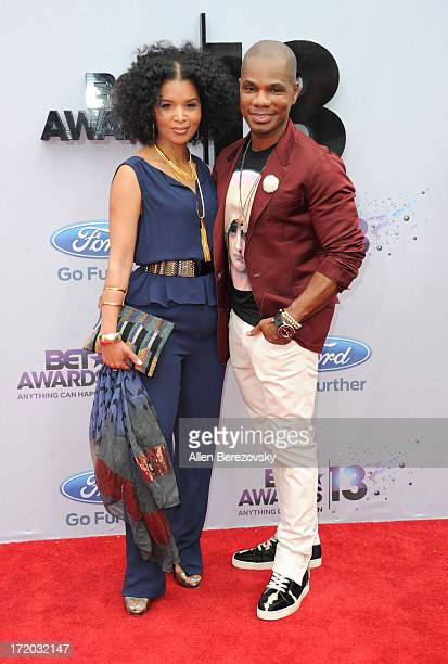 Tammy Collins and Kirk Franklin attend 2013 BET Awards Arrivals at Nokia Plaza LA LIVE on June 30 2013 in Los Angeles California