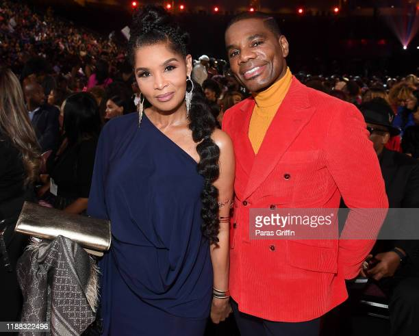 Tammy Collins and Kirk Franklin attend the 2019 Soul Train Awards presented by BET at the Orleans Arena on November 17 2019 in Las Vegas Nevada