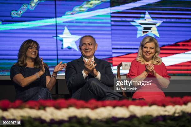 Tammy Deborah Sand wife of US ambassador to Israel David Friedman Israeli Prime Minister Benjamin Netanyahu and his wife Sara Netanyahu attend a 4th...